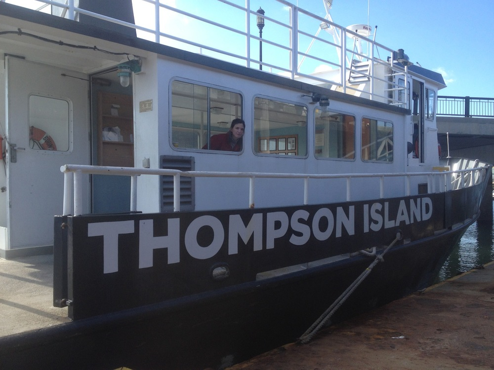 Ready to depart South Boston for Thompson Island