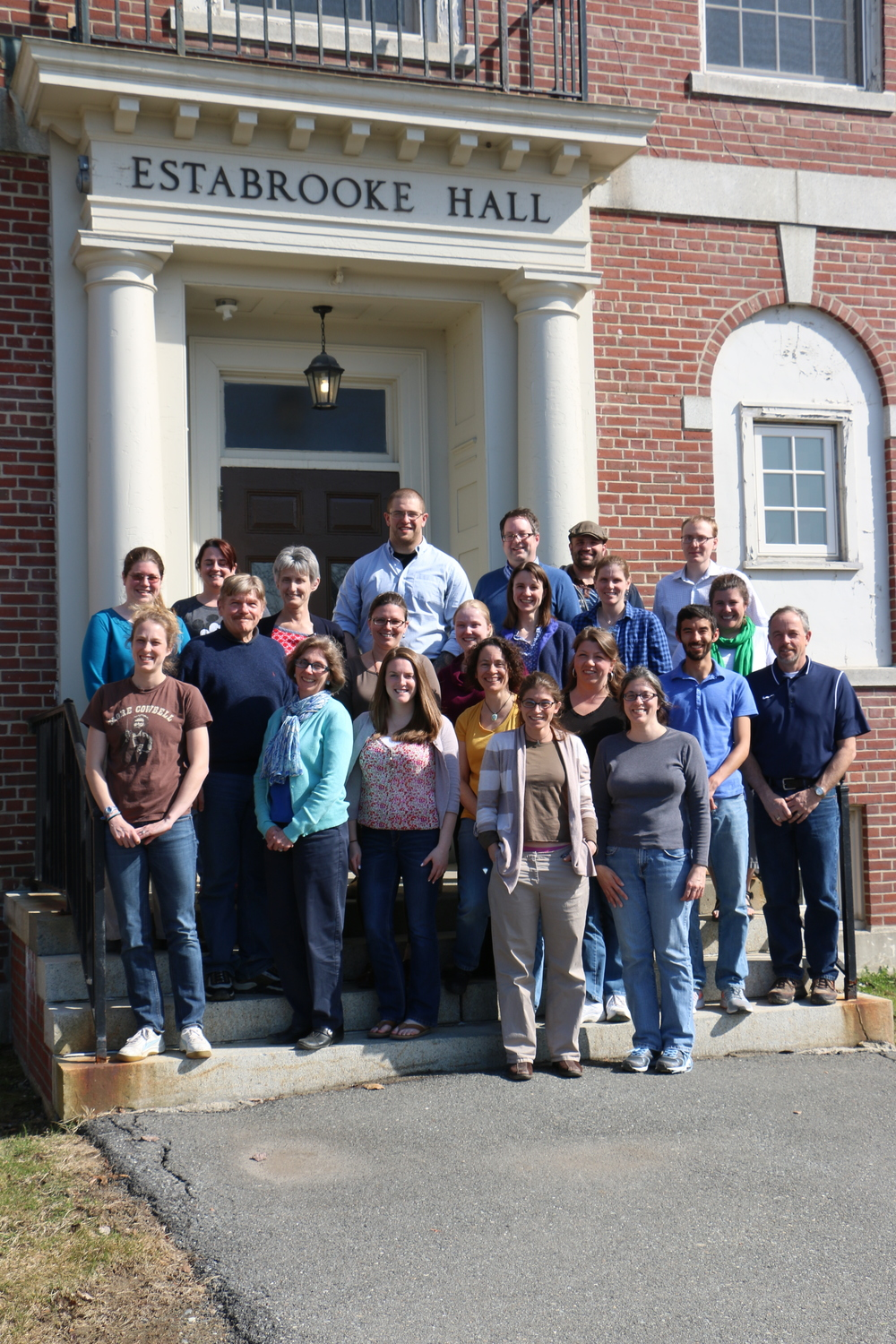 Teachers with the Spring 2015 University Course Observation Program in front of Estabrooke Hall at the University of Maine, Orono.
