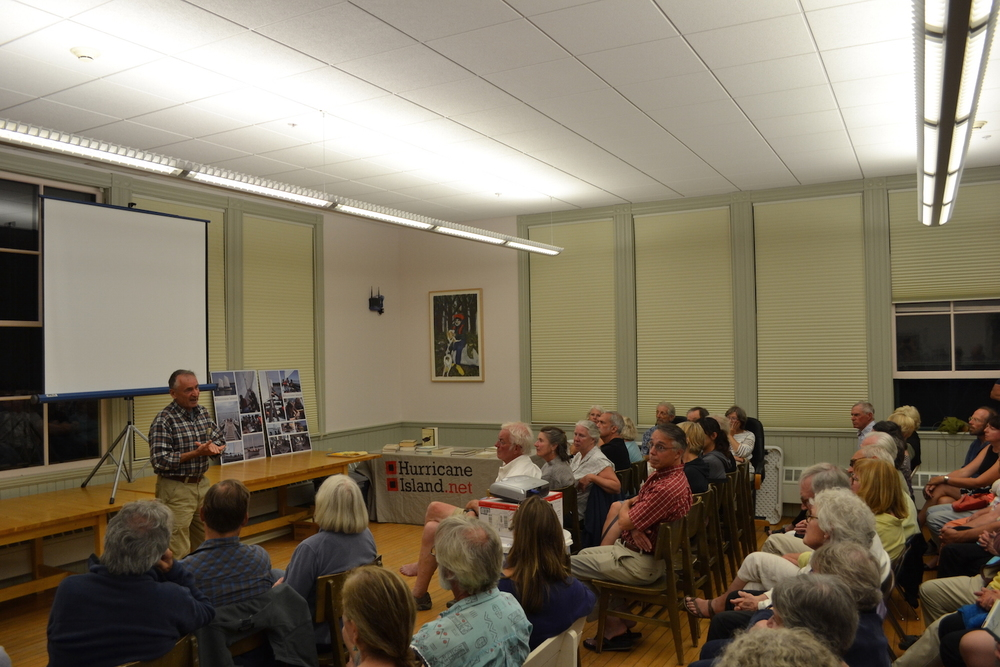 Bernd speaks to a packed room in Vinalhaven