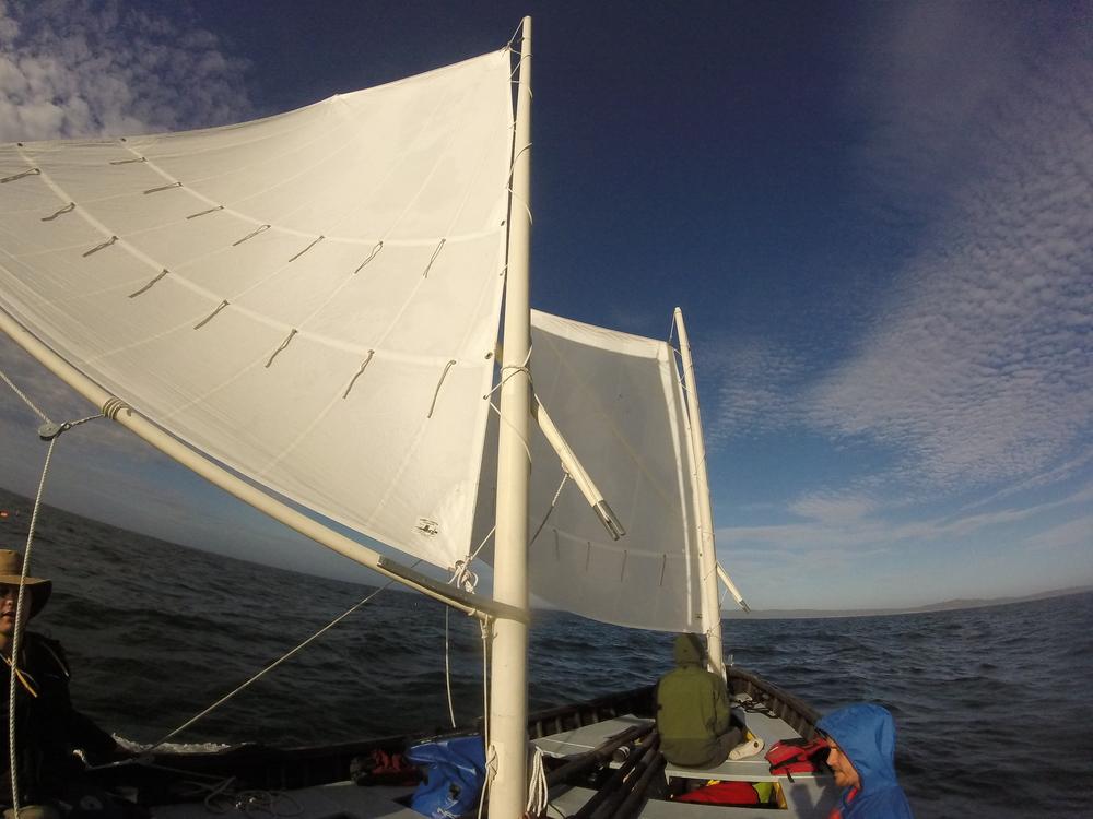 Full sails aboard the Castor