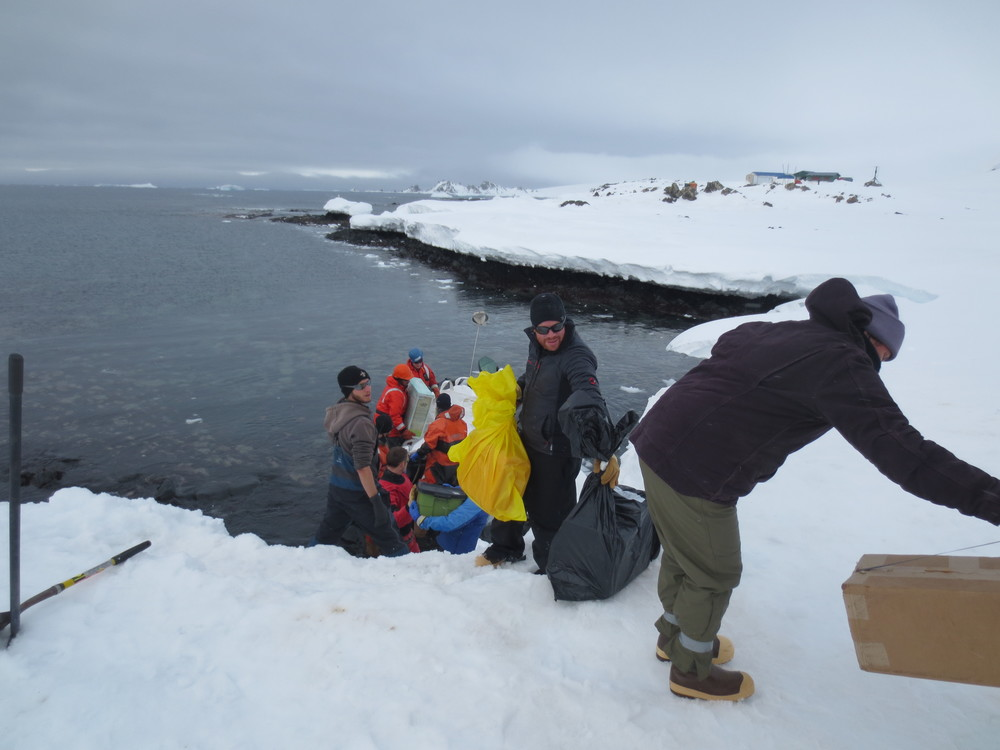 Unloading the Zodiacs on Livingston Island, Antarctica