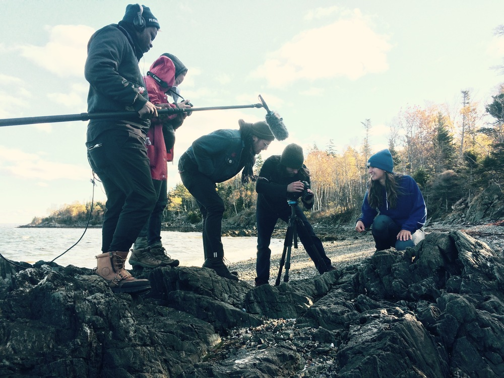 Production crew shooting on location in the intertidal at Mullen's Head beach, North Haven, Maine