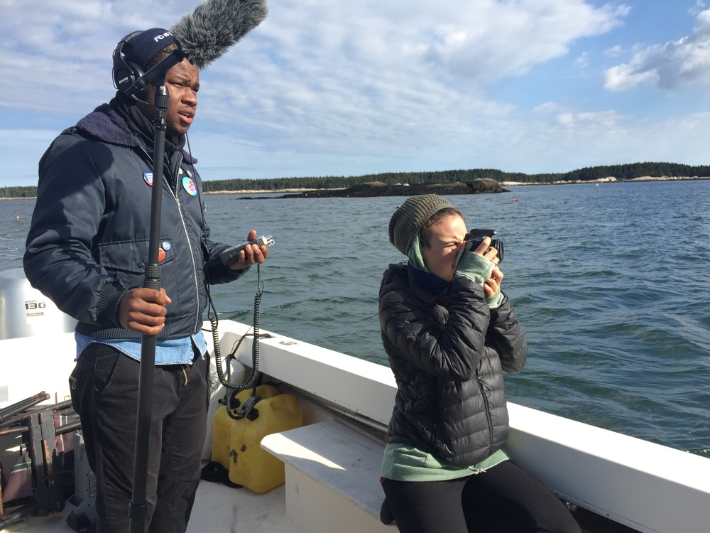 "Chris Williams and Elicia Ep  stein on board M/V Eastern Flyer in Hurricane Sound during production of ""Off-the-Grid"""