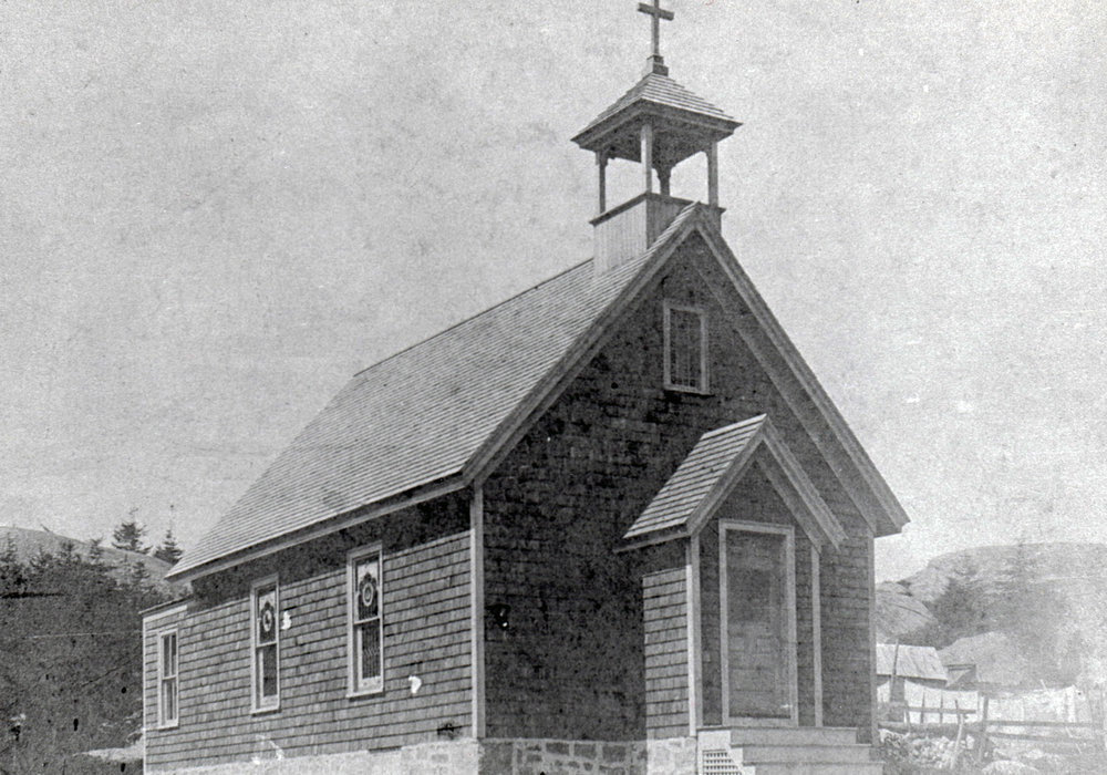 Hurricane Island Catholic Church, circa early 1900's.   Photo Courtesy of Eleanor Motley Richardson, Hurricane Island: The Town That Disappeared