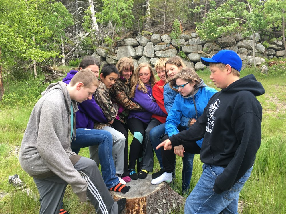 Vinalhaven students team up for a challenge on Hurricane Island.