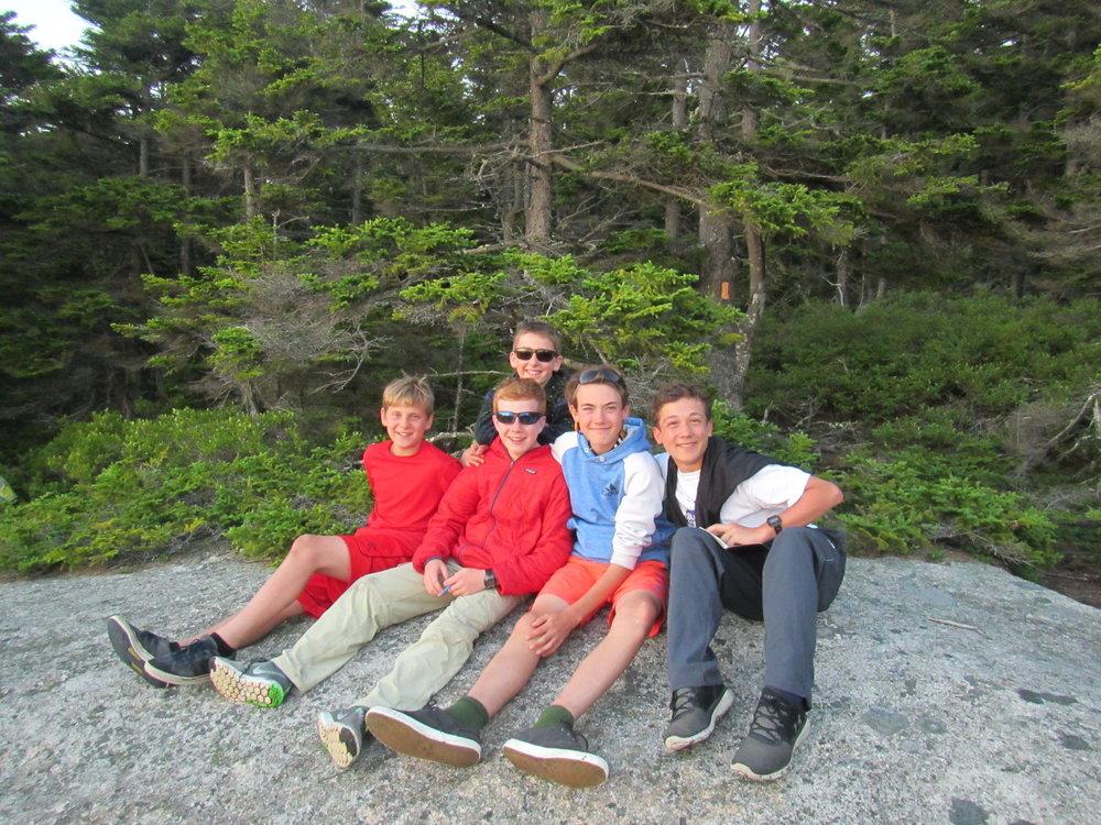 Penobscot Bay boys on Sunset Rock