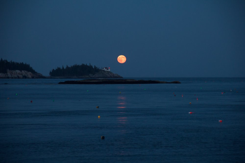 The full, red moon rising over Heron's Neck lighthouse on Greens Island on the other side of Hurricane Sound.