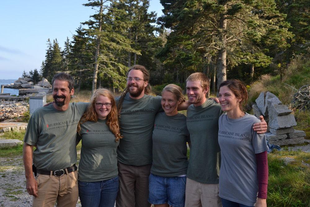 2012 Island Staff: L-R John Dietter, Alice Anderson, Patrick Haigh, Joy Longellow, Addison Godine, Emily Peckham.  Not Pictured- Andrew Njaa.