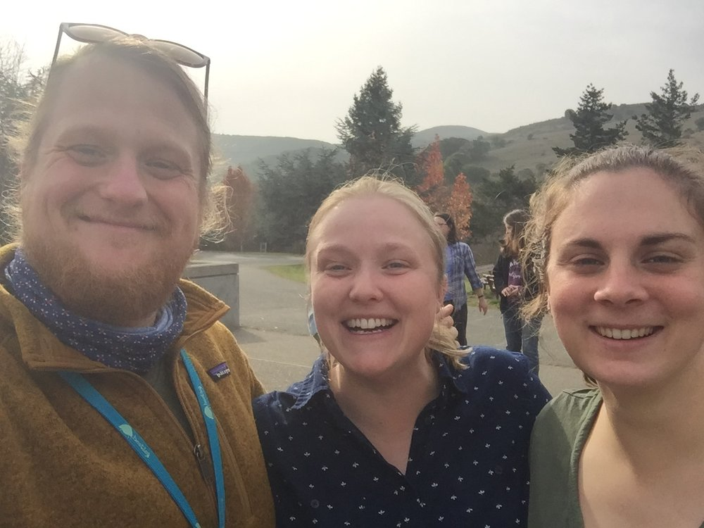Jenn (center) and Robin (right) snap a selfie with Michigan-based participant Ben (left).