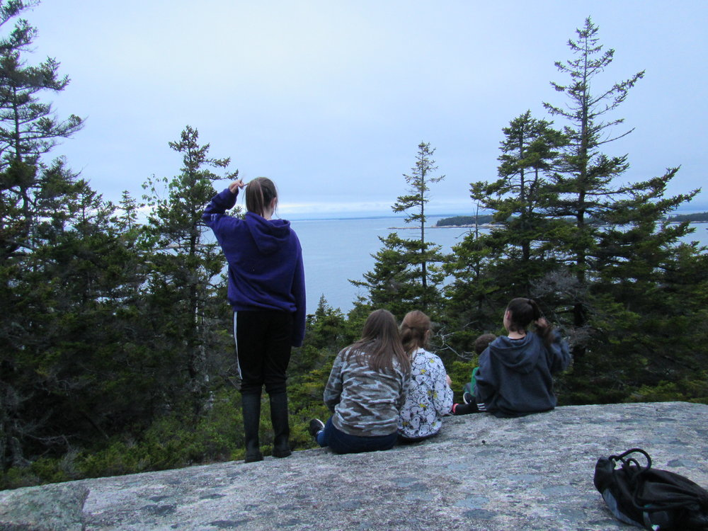These 7th grade kelp experts take a moment to enjoy the view from Sunset Rock.