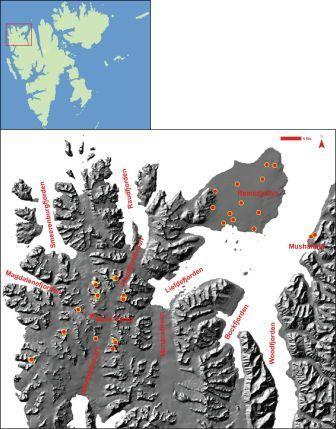 Kart over Nordvestspitsbergen med prøvelokaliteter.