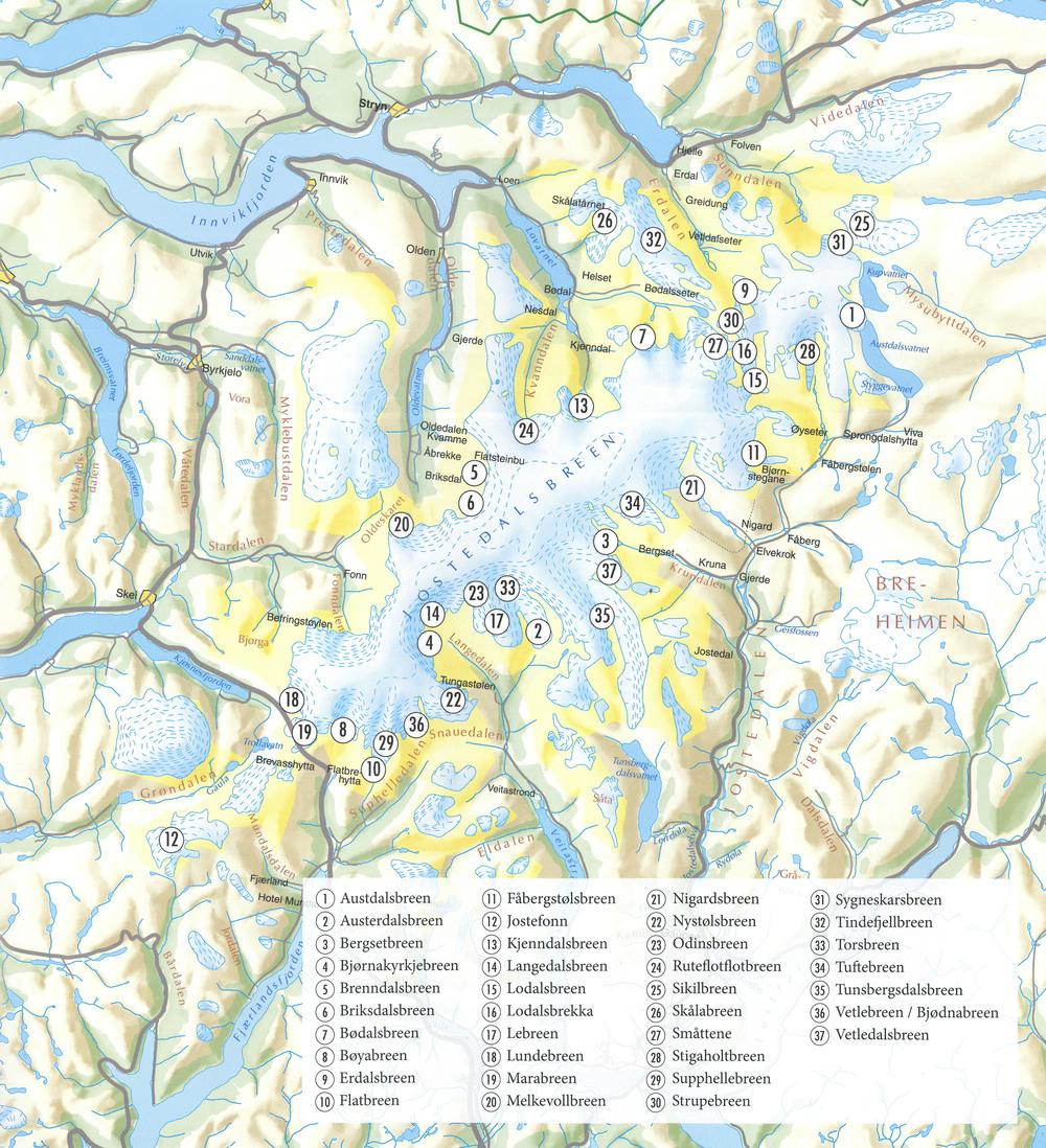 Kart over Jostedalsbreen som syner dei 37 namngjevne brearmane. Kartet er henta frå boka  Norske isbreer av Orheim, O. 2009.