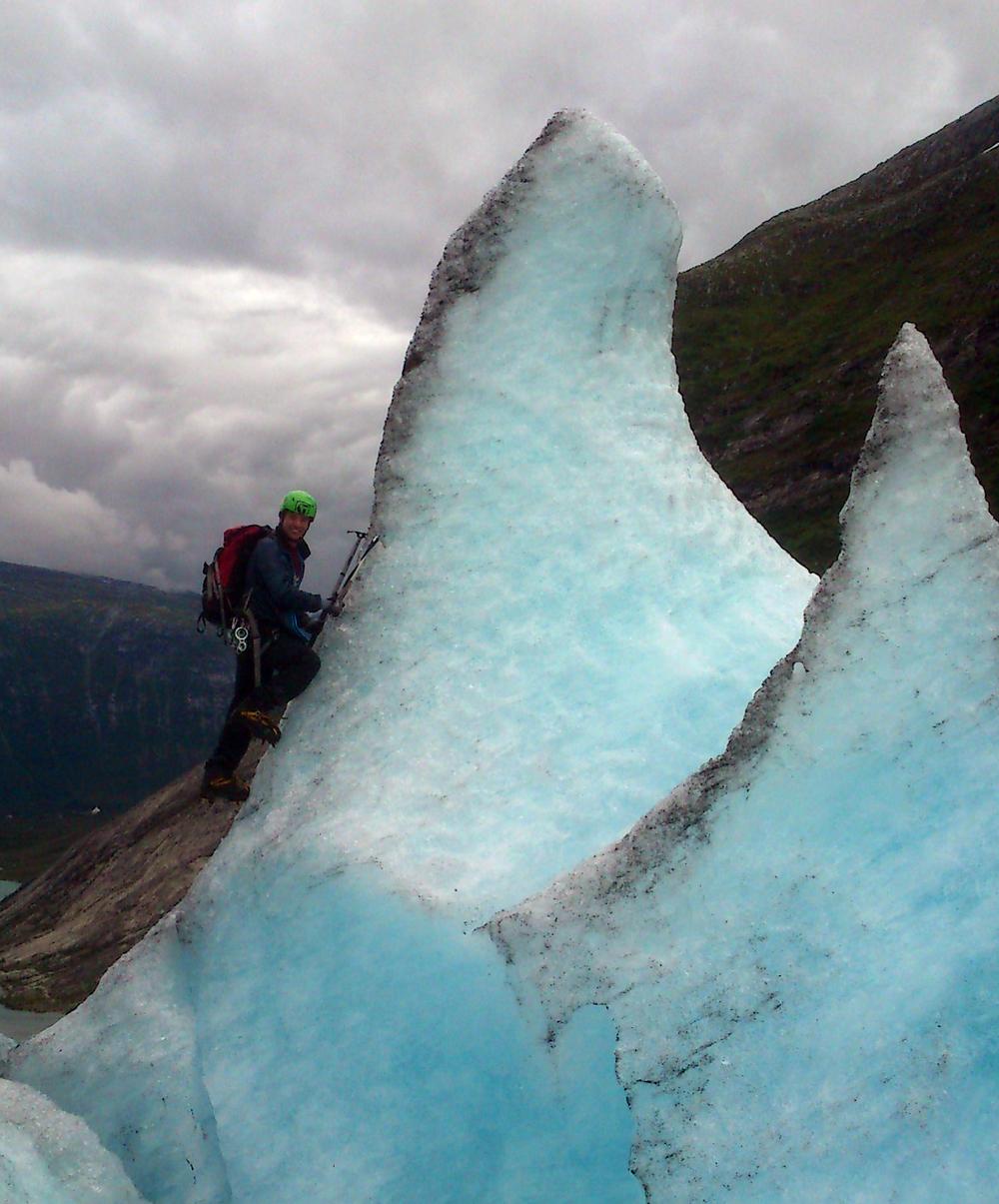 Sjølvaste Mountaingoaten på veg opp ein is-pinakkel på breen. Foto: Gaute D. Bøyum.
