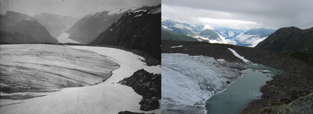 Store Supphellebreen (Flatbreen) i 1906 (foto: Monchton) og 2012 (foto: Pål Gran Kielland).