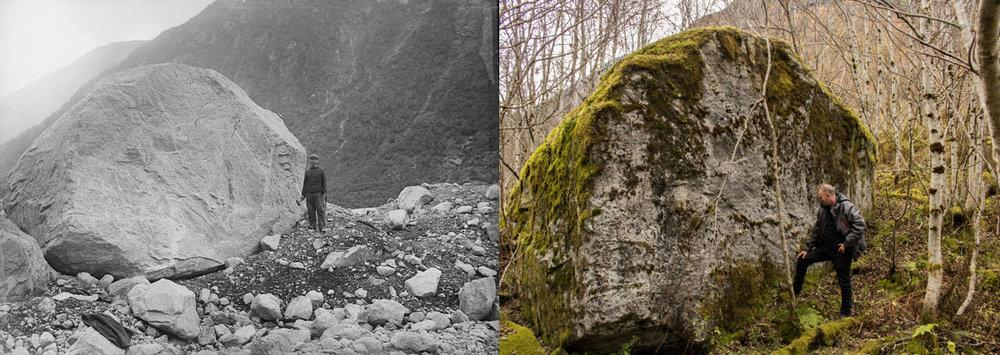Fastmerket framfor Supphellebreen i 1899 (foto: NGU) og 2016 (foto: Pål Gran Kielland).
