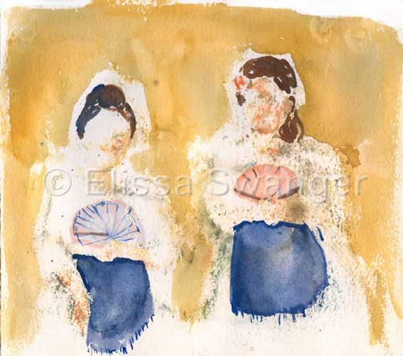 """Senoritas"" 8 3/4"" x 7 3/4"" Watercolor on Paper 2008"