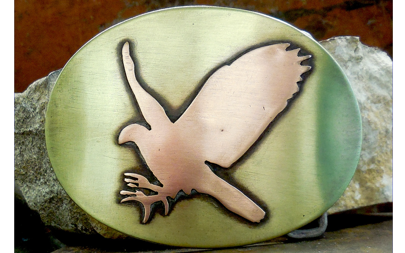 Hawk Belt Buckle  Brass Buckle with Copper Hawk. $120