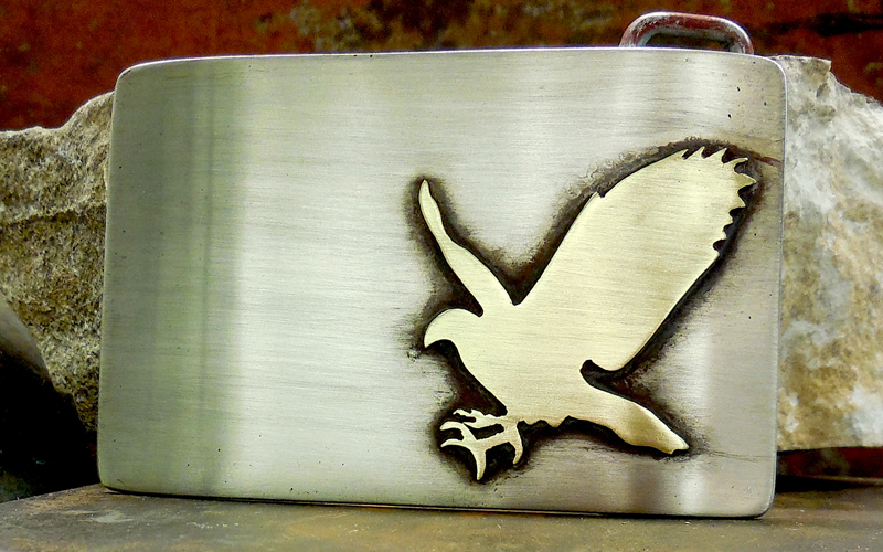 Rectangle Hawk Belt Buckle  Silver Buckle with Brass Hawk. $120