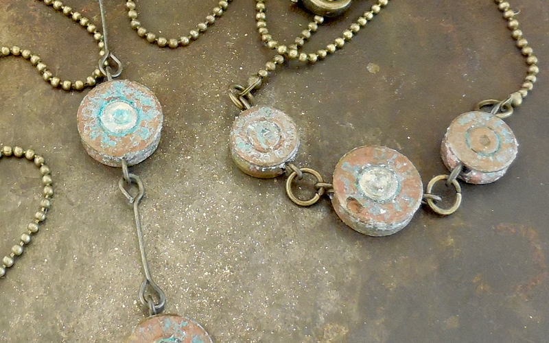 Bullet Shell Top Necklaces with a patina finish on Brass chains $40