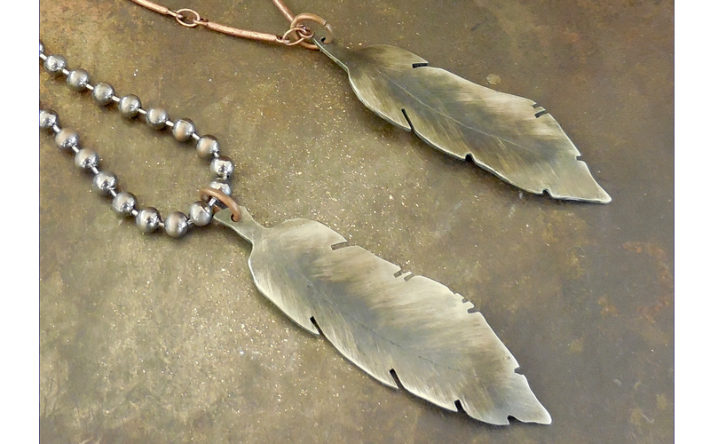 Silver Double Feather Necklace  Hand hammered feathers on one silver and one copper chain $75