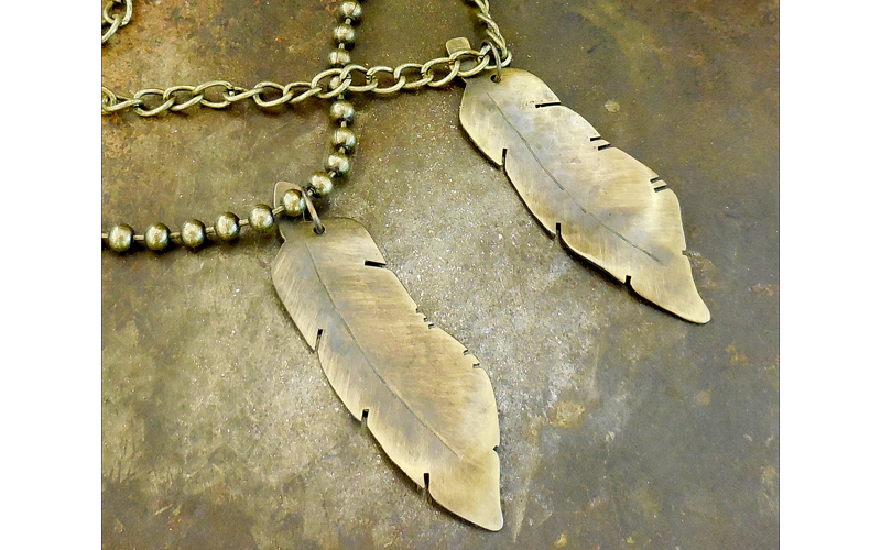 Brass Double Feather Necklace  Hand Hammered Feathers on two Brass chains. $75