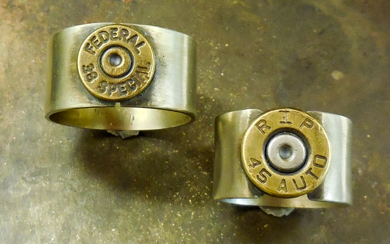Silver Bullet Top rings with Brass Bullets  Can be made in any size $60