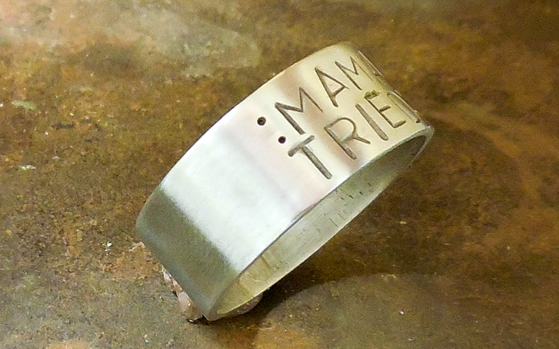 "Brushed Silver Statement Ring - ""Mama Tried""  Can be made in any size and metal $60"
