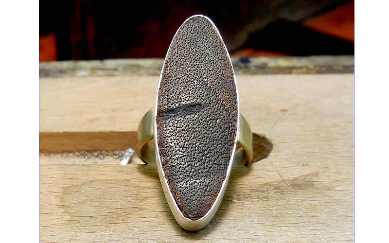Leather Top ring  Brass ring with a vintage brown leather top. $75