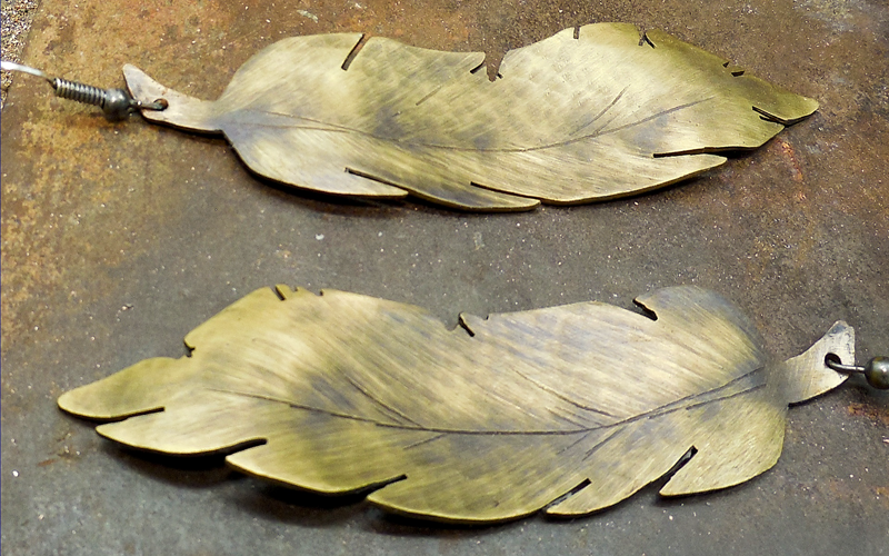 Large Brass Feather Earrings