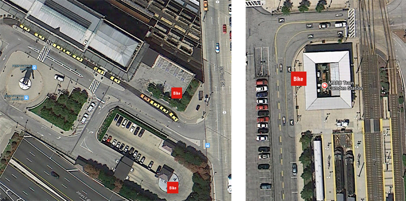 Bike parking locations at Penn and Camden Stations