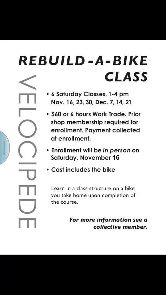 Velocipede Rebuild-a-Bike Classes