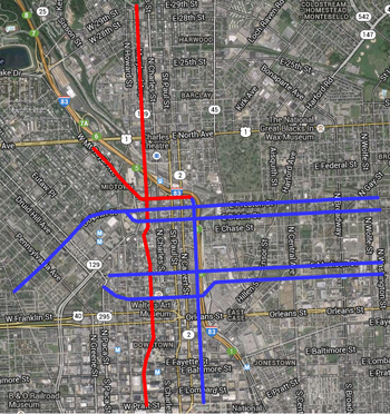 The proposed Downtown Bicycle Network to be constructed in 2014, plus the Mount Royal Avenue Cycletrack and the Guilford Avenue bicycle lane.