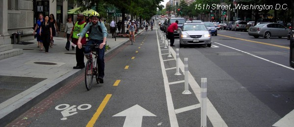 A 3-foot buffer on the 15th Street Cycletrack in Washington, D.C., cited by BCDOT as a model for the Maryland Avenue Cycletrack.
