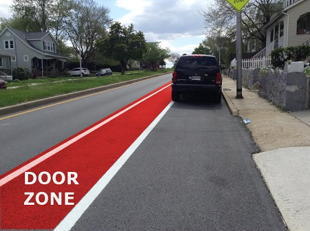 Figure 6. Walther Avenue Bicycle Lane with door zone highlighted. Photo and illustration by Adam Hull.