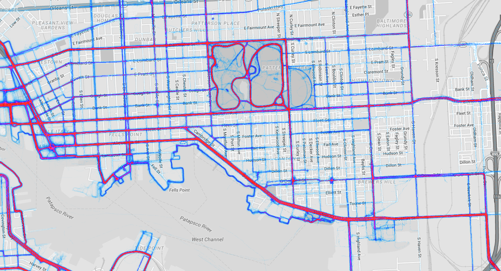 Heatmap of bicycle activity in Southeast Baltimore (via Strava)