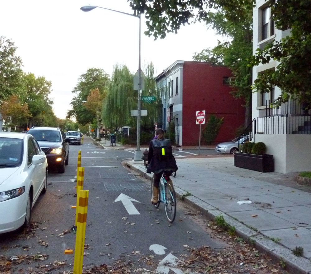 Contraflow bike lanes, like this one in Washington, DC, allow bikes to ride against car traffic on one way streets.