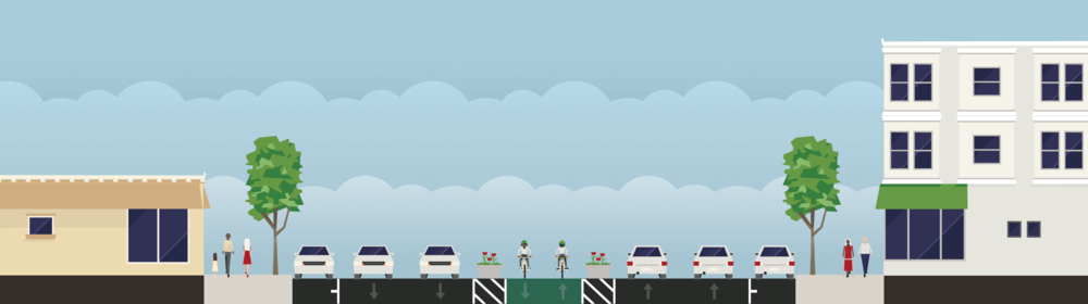 A simple fix could provide protected bike lanes and 10 feet of additional pedestrian refuge.