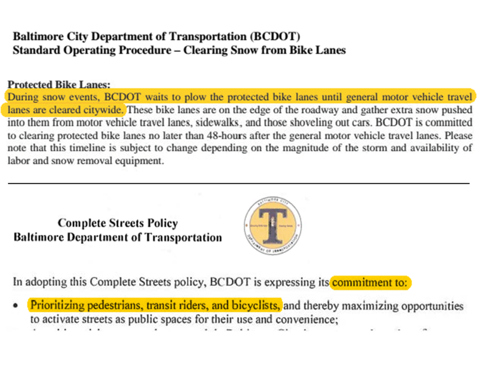 The Snow Removal Policy conflicts with the existing Complete Streets Policy