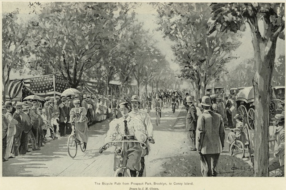"The Olmsted designed Brooklyn Ocean Parkway's multi-use path was split to include a ""bicycle highway"" in the 1890's."