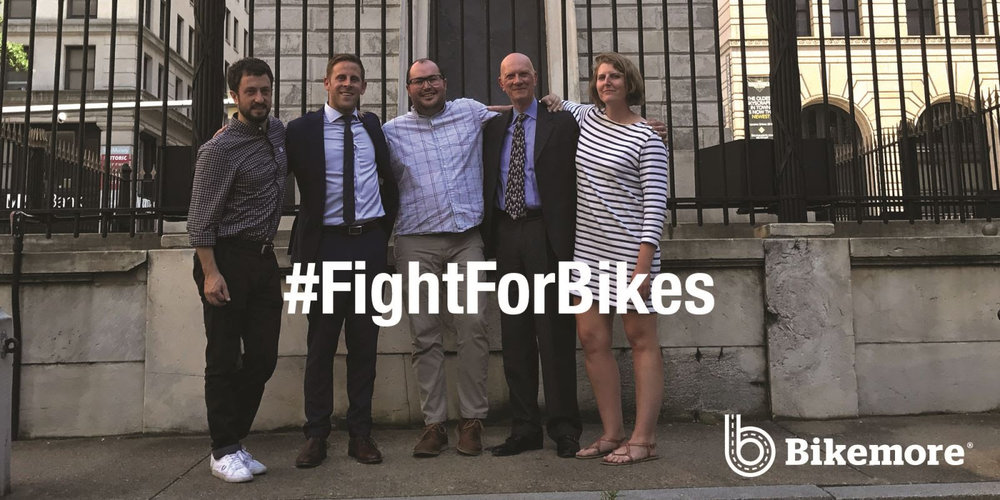 Yair Flicker, Bikemore Board President, Mark Edelson, Attorney, Jed Weeks, Bikemore Policy Director, Mark Stichel, Attorney, and Liz Cornish, Bikemore Executive Director