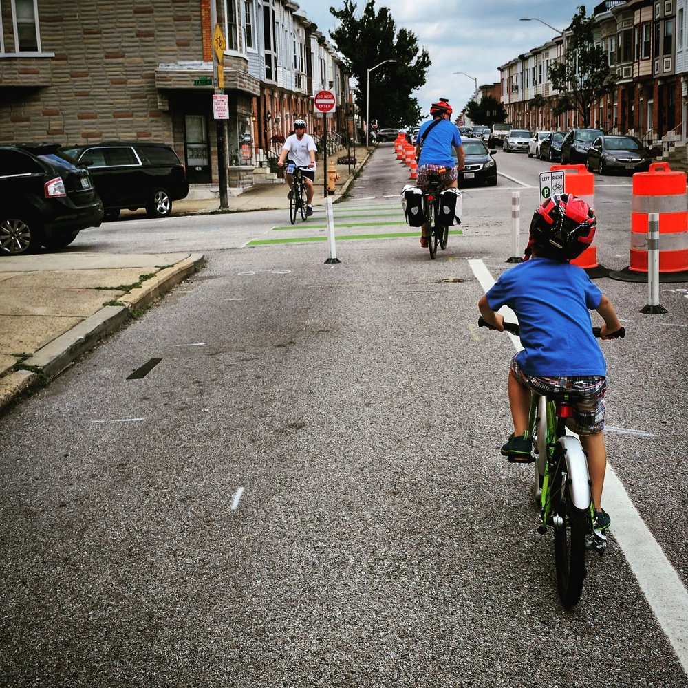 Even under construction riders of all ages have been out enjoying the protected bike lane on Potomac Street.