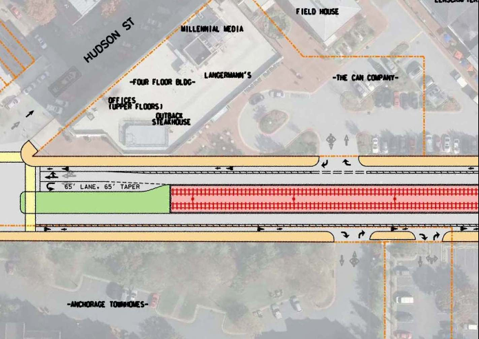 Red Line plans with buffered bike lanes
