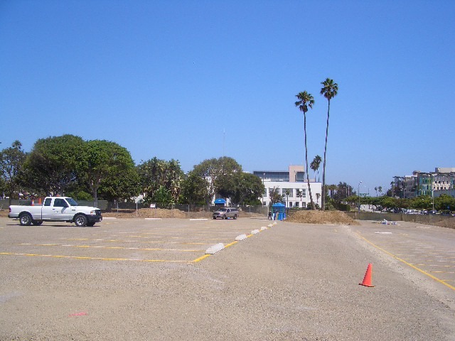 On the project site, looking east toward City Hall. Prior to becoming a park, the site was used as an overflow parking lot.