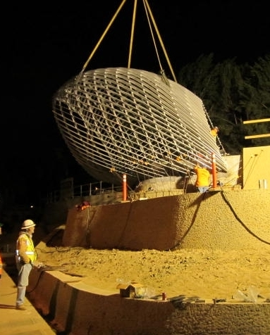 Installing one of the overlooks at night