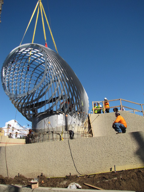Installing one of the two overlooks atop Observation Hill