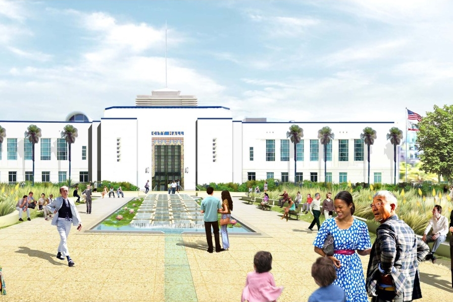 The design will revitalize City Hall's front lawn