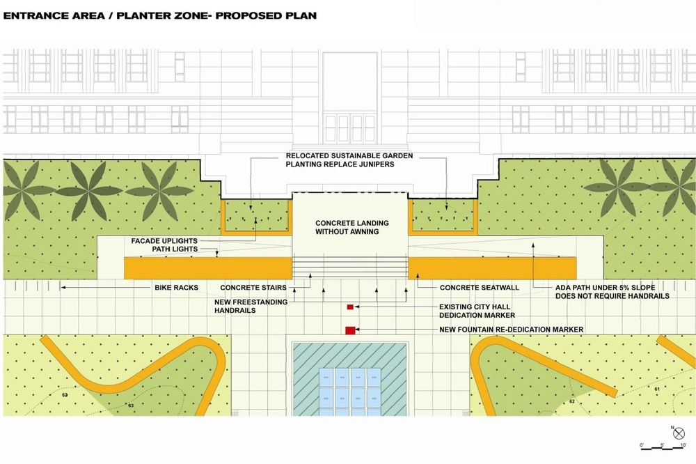 Site plan for City Hall entrance