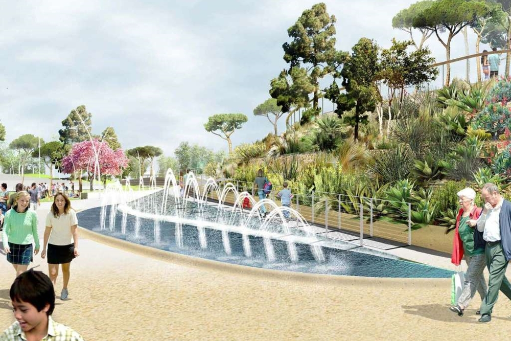 Water features will culminate in a dramatic display at the Ocean Avenue entrance