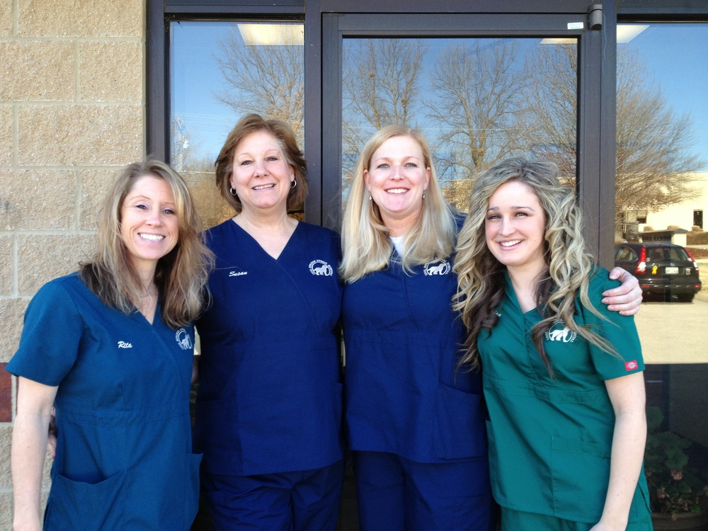 Our wonderful office team in their CSAH scrubs! From left to right, Rita, Susan, Casey and Jordan.