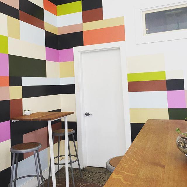 Fun accent wall at @tandemcoffeeroasters in Portland, ME ☕️☕️